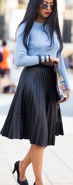 Bright Black Accordion Pleat Midi Skirt Love the light blue top with the black skirt