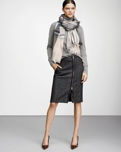 J.Crew women's asymmetrical zip pencil skirt, plaid scarf, center cross ring, and Elsie calf hair pumps.