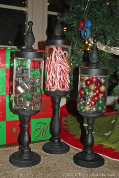 cookie cutters, candy canes, & ornaments in apothacary jars