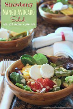 Strawberry Mango Avocado Salad  - Cupcakes & Kale Chips – ENJI Daily #vegetarian #glutenfree