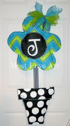 Chevron Flower Pot Burlap Door Hanger by MustLoveArtStudio on Etsy, $45.00