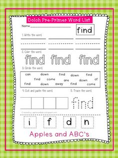 Dolch Pre-Primer Sight Word Printables