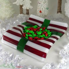Fused Glass Plate Christmas Present Wave Shape