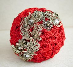 Brooch bouquet. Scarlet red and gold wedding brooch bouquet, Jeweled Bouquet. Ready to ship