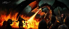 Dragon battle by SigbjornPedersen.deviantart.com on @deviantART