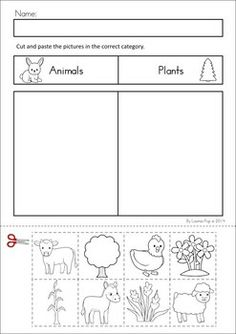 MEGA Math  Literacy Worksheets  Activities - Down on the Farm. 100 Pages in total!! A page from the unit: Categorizing cut and paste - plants and animals
