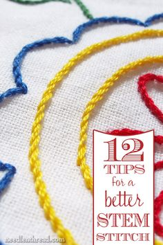 Stem stitch is an easy & beautiful embroidery stitch. You can use it for lines or for filling, and you can even shade with it. To improve you stem stitch, check out these 12 articles with tips and instructions on how to work the stem stitch, how to shade and fill with it, how to make sharp corners with it, and more!