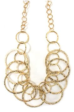 Gold etched ring necklace