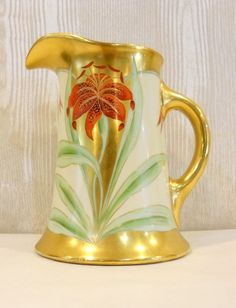 A Hand Painted Pitcher, Tiger Lily Limoges, France