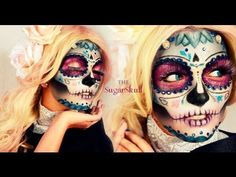HALLOWEEN MAKEUP TUTORIALS 2013: THE SUGAR SKULL - with powders, liner and more, no face paint needed