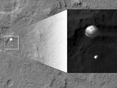 What an incredible shot!  The Curiosity rover parachuting to the surface of Mars.