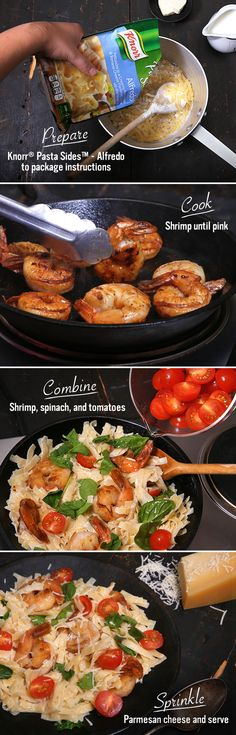 Knorr Creamy Shrimp Alfredo is a decadently creamy and flavorful meal that your family will love! With only 6 ingredients, make this Italian classic for a delicious weeknight recipe in a pinch. Just prepare Knorr® Pasta Sides™ - Alfredo according to package directions. Add juicy cooked shrimp, plump cherry tomatoes, and vibrant fresh spinach. Then, top with a sprinkle of Parmesan cheese! It's a tasty and easy dinner you have to try in the kitchen this week!