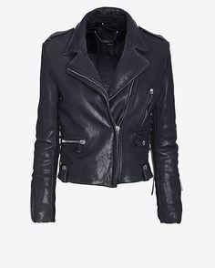 Barbara Bui New Vintage Leather Jacket: Navy