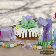 Burlap? Check. Pops of color? Check. Pastels? Check. Our table is ready for Easter! #BundtHunt | Nothing Bundt Cakes