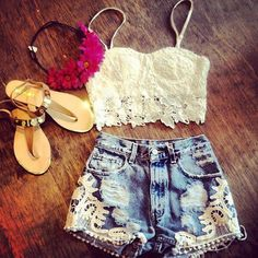 festival outfits, lace, fashion, flower headbands, cloth, style, crop tops, high waisted shorts, summer outfits