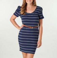 Ruched Sleeve Belted Stripe Dress
