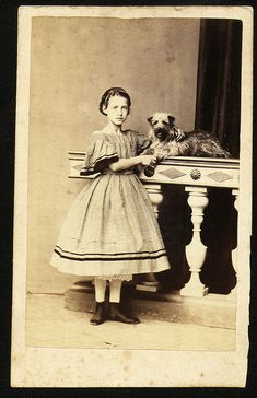 Young girl and her dog, c. 1850s-1860s.
