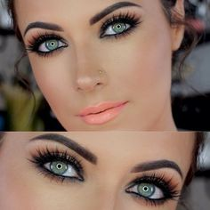 Oh wow. This is absolutely striking! If only my eyes were pretty like that. makeup eyes, stunning makeup, eye makeup, dark eyes, makeup ideas, dramatic eyes, lip colors, bright eyes, hair and makeup