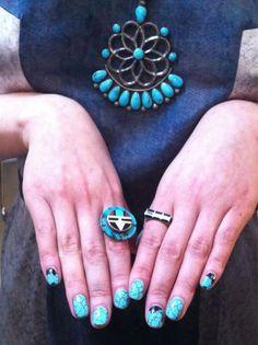 Phenomenal turquoise nails. Backstage at Gretchen Jones #nyfw show nail polish, phenomen turquois, turquois nail, happi nail, turquoise jewelry, nails, boho style, gretchen jone, nail art