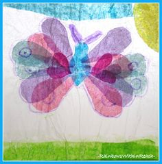 Tons of gorgeous tissue paper butterflies from the Elementary Art room.