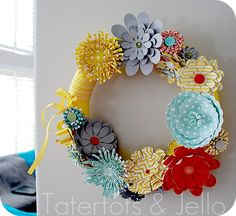 flower wreath, silhouett cameo, paper wreath, paper flower, diy interior