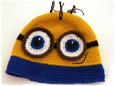 minion crochet hat, free tutorial