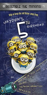 DESPICABLE ME MINION #1 CUSTOM BIRTHDAY PARTY INVITATION PHOTO PRINTABLE | eBay