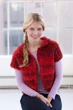 Crochet Romantic Bolero - SKILL LEVEL:  Easy  SIZES: Small, Medium, Large, 1X, 2X  LB Chenille - 4 balls, N hook  free pdf from Lion Brand