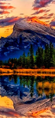 Reflection art photography, Mt. Rundle, Canada