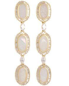 Long Baguette Oval Earrings in Iridescent Drusy - Kendra Scott LUXE.