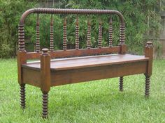 Vintage Repurposed Antique Bed Bench Upcycle by AustinMetroRetro    Real repurposing. Put a good lacquer on it and use it as a garden bench.