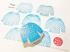 sweater stamp. knit sweater rubber stamp. hand by talktothesun, $16.00