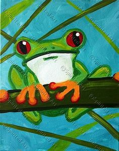 frog painting, frog canvas painting, tree frogs, vine, monochromat tree, kid parties