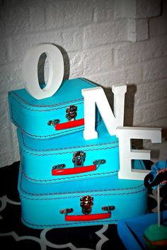 Cute suitcases at a Little Man mustache birthday party!  See more party ideas at CatchMyParty.com!