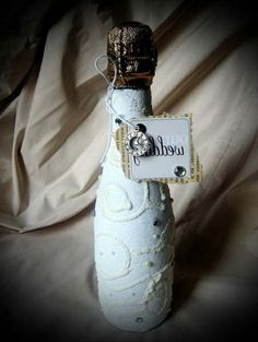 decoupage op fles maken met griesmeel