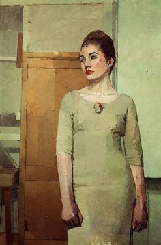 Artist: Euan Uglow (1932–2000); Wandsworth, London {figurative impressionist painter female standing woman in green dress painting #loveart} Composed !!
