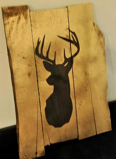 Rustic Gold Deer Silhouette Pallet Sign