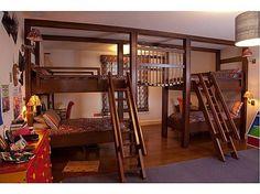 With a wooden bridge between bunks, would kids ever sleep? #kidsroom #bunkbeds #interiordesign