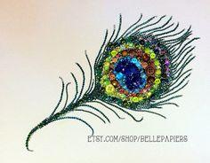 Peacock Feather Button Art Button & Swarovski Art! #buttonart #buttons #swarovski #handmade #crafts #diy #art #peacock #peacockfeather #feather