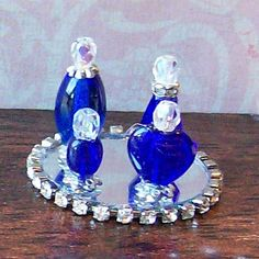 Dollhouse Miniature - Cobalt Blue - Perfume Bottles on a Tray - by LePetitCottage - $15.00