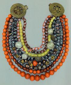 "Ukraine | ""Wedding necklace"".  Glass beads, gold, silver coins, copper bells ""kolokiltsya"" brass fasteners  || Nineteenth century."