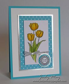 handmade Easter/Spring card ... tulip image ... aqua and white with accents of shiny silver ... pretty card ... Stampin'Up!