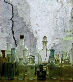 antique bottles, vintage bottles, jar, green bottles, bath salts