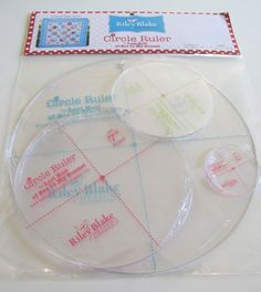 This is a set of 4 circle rulers by Lori Holt of Bee in my Bonnet.  You can use them for rotary cutting or template tracing. They were especially
