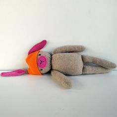 Transazione Etsy - Beige and Pink Cashmere Funny Bunny Plushie-- by Beeper Bebe