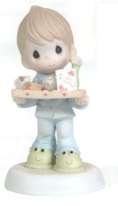 Precious Moments I Love You For All You Do - Boy A perfect Precious Moments for Mother's Day. Features a boy bringing Mom breakfast in bed. Figurine is made of porcelain. $37.50 #PreciousMoments #MothersDay #Mom #Family
