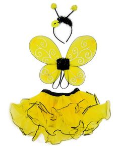 3 Pc Bumble Bee Costume Set. Wings, Tutu & Antennas