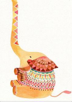 elephants, elephant art, eleph art, color, inspir, paint, tattoo, print, illustr