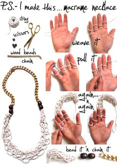 Finger weave a necklace