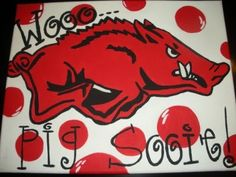 pig sooie, razorback painting, arkansas paintings, pigs, woo pig